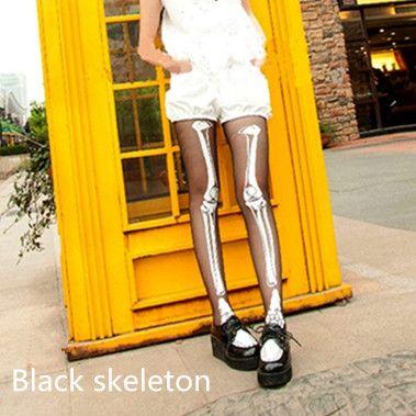 Halloween Skeleton Tattoo Thin Silk Basic Tights SP141284 - Thumbnail 1