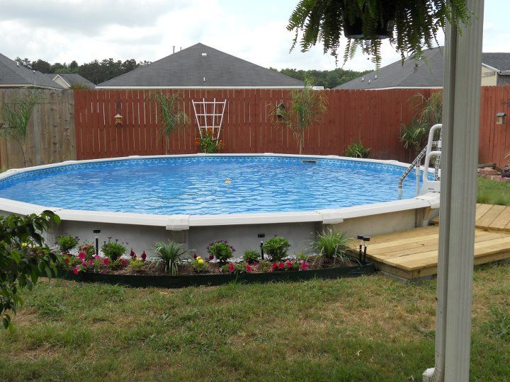 Cool idea for an above ground pool that my sister found ! You put half of it below ground !