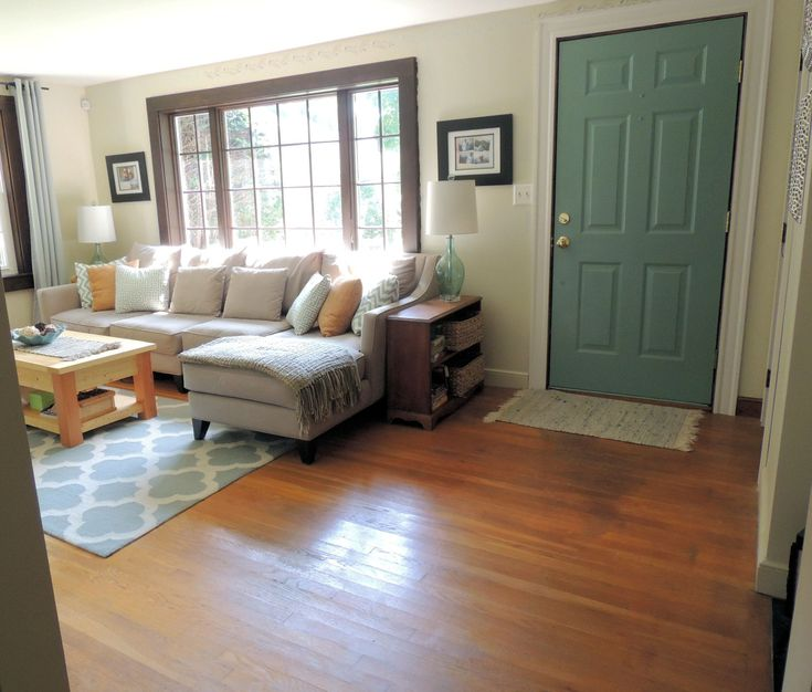 Perfect visual! This living room is almost identical to mine as far as the door and window size/ placement goes.