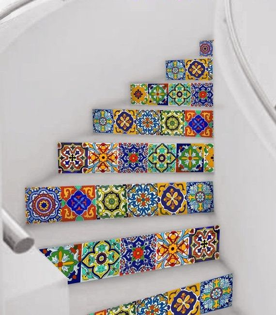 Mexican Talavera: 18 Beautifully Painted Stairs :. Hand Painted Stairs