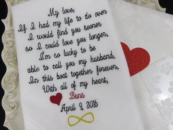 Wedding Gift For Future Husband : Groom Handkerchief-Embroidered Wedding Gift-HUSBAND and WIFE- Gift for ...