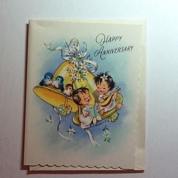 #17- Vintage Unused Eve Rockwell Anniversary Greeting Card Sweet Angels