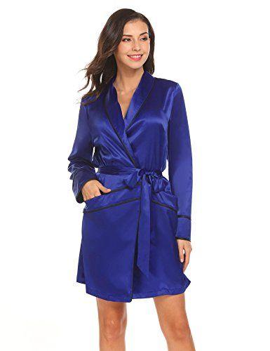9136c5a141beec EKOUAER Damen Satin Morgenmantel Kimono Bademantel Kurz Nachthemd Sommer  Nachtwäsche mit 2 Taschen Blau Lila.