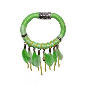 NATIVA GREEN  €7.95 verkrijgbaar bij sevenbien.nl  #armband #groen #feather