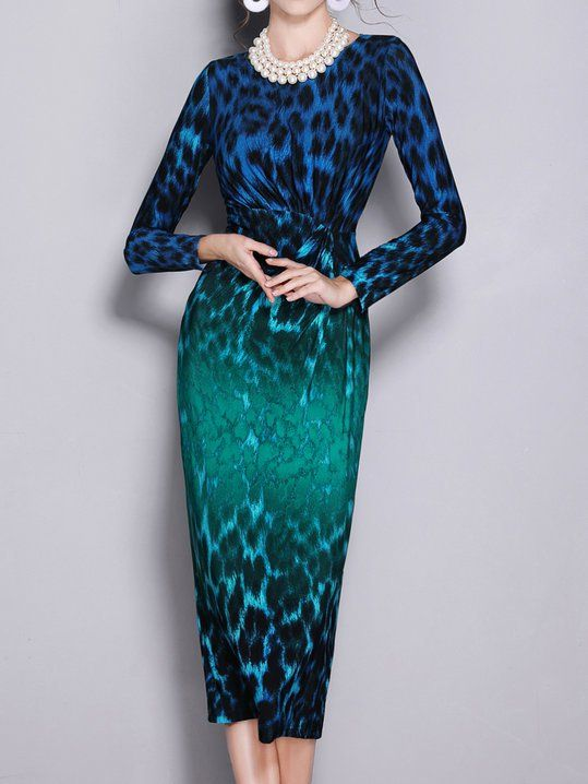 8e7bfd2adcb Stylewe Cocktail Dresses Long Sleeve Bodycon Dresses Evening Bodycon Crew  Neck Leopard-Print Cocktail Dresses
