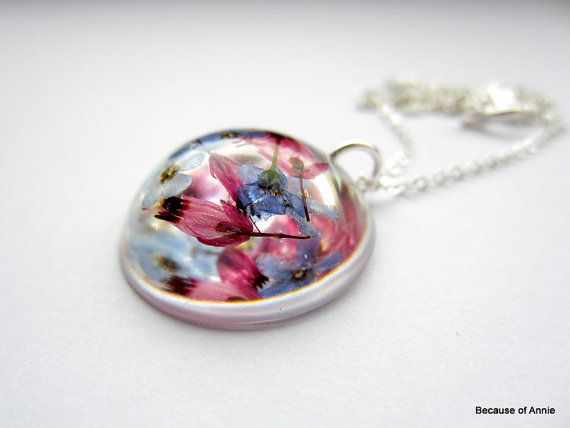 Real Flower Resin Jewelry  Pink Heather and Blue by BecauseofAnnie, £18.00
