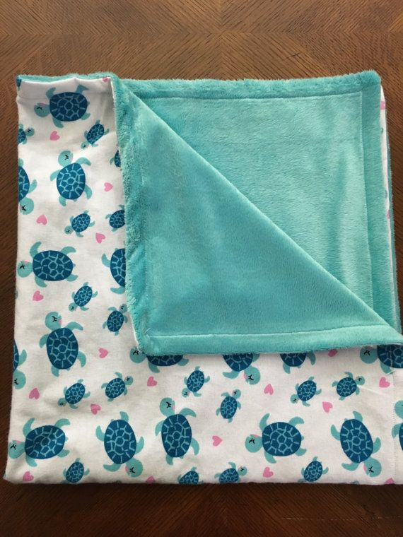Personalized Baby Minky Blanket Sea Turtles and by cuddlesNbundles
