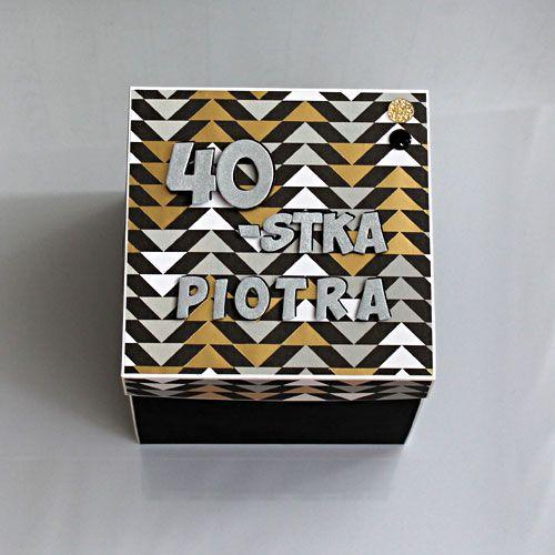 """Exploding box - pudełko """"eksplodujące"""" - ręcznie wykonane życzenia na 40 urodziny."""