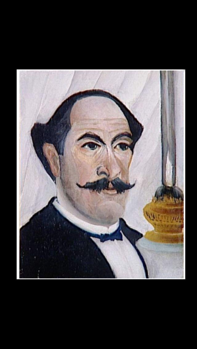 """Henri Rousseau - """" Autoportrait de l'artiste à la lampe """", 1902/1903 - Huile sur toile - 23 x 19 cm - Collection personnelle de Pablo Picasso - Musée Picasso, Paris"""