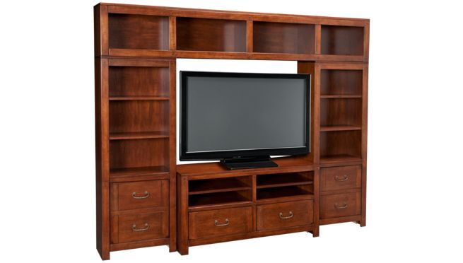 Oak Furniture West - Montana - 4 Piece Entertainment Center - Entertainment Centers for Sale in MA, NH and RI at Jordan's Furniture