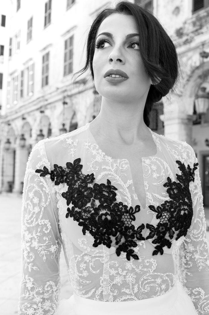 wedding dress black detail by Marianna Kastrinos.