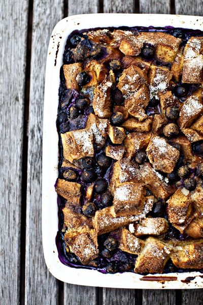 Baked Blueberry French Toast.  This is actually Giadas recipe.  I just used all the old bread I had, not the kind she said and I used buttermilk instead of cream.  It was good, nothing super special about it but I would make it again.