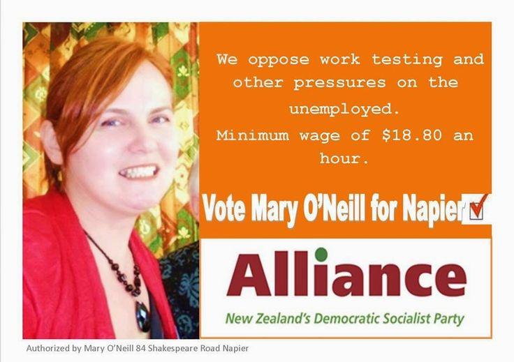 Mary O'Neill Alliance Party Candidate for Napier Electorate - NZ Parliamentary Election 2014