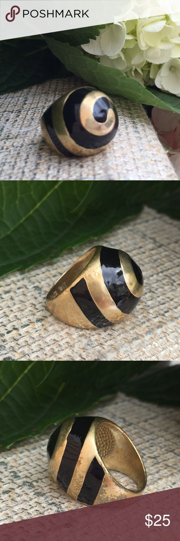 LIA SOPHIA WHIRLPOOL Ring LIA SOPHIA  from Collection, WHIRLPOOL Ring.  Matte Gold with swirls of black enamel Size: 7 H O S T  P I C K!  BeSt In JeWeLrY & AcCeSsOrIeS 07/28/2016 Lia Sophia Jewelry Rings