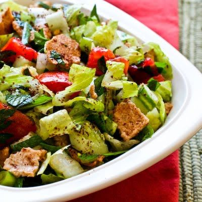 I also add green and red peppers to my Fattoush salad, and eat this as long as the farmer's market stocks the fresh veggies!