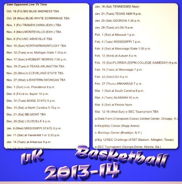 13-14 UK Basketball Schedule