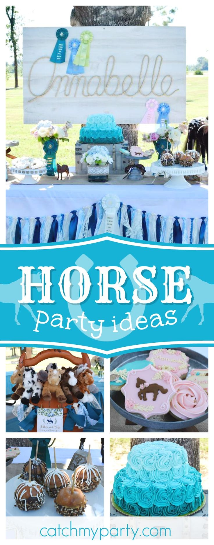Don't miss this wonderful Equestrian horse themed birthday party! The rustic dessert table is gorgeous!! See more party ideas and share yours at CatchMyParty.com #birthdayparty #horse
