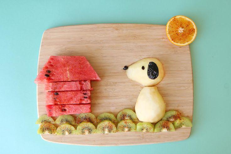 Snoopy snack for kids (kiwi, watermelon, raisins, orange, pear, Tajin)