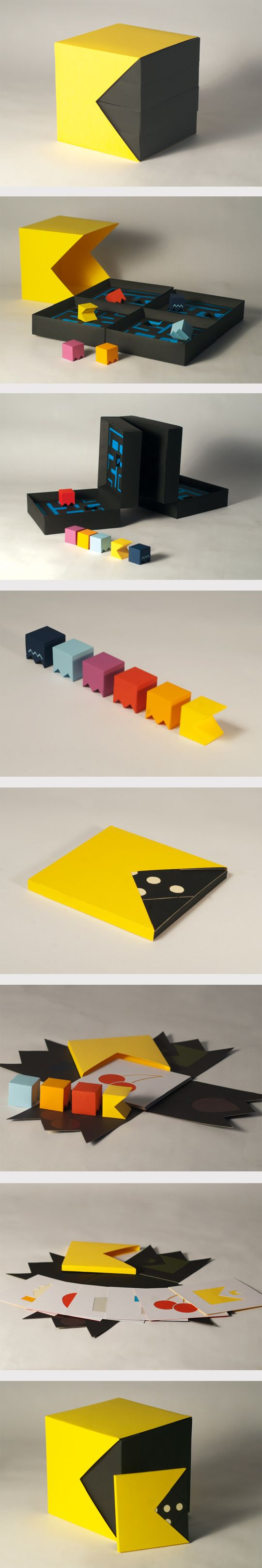 A packaging and brochure design inspired by the retro videogame 'Pacman'. #packaging #paper #videogame
