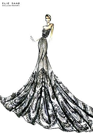 One of my favorite sketches: I analyze the draping, patterns, and styles of gowns of the famous designers (like this Elie Saab one). In this way, I can create my own designs inspired by their gorgeous gowns.