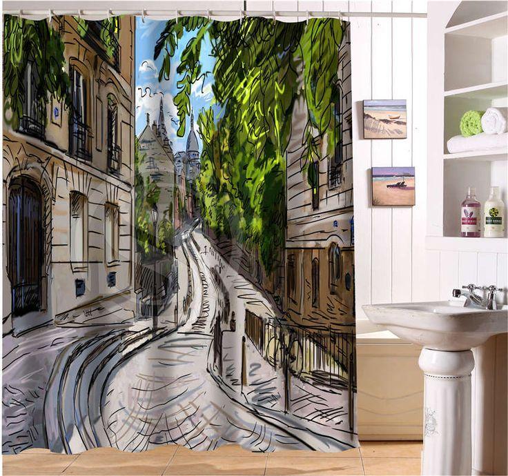 Wjy504k10 пользовательских ручной росписью европейский естественный архитектурный пейзаж ткани современный занавески для душа ванная комната водонепроницаемый FY10 купить на AliExpress