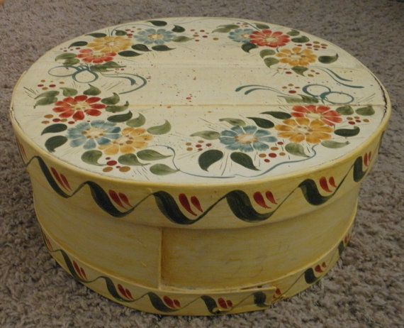Vintage New England Tole Painted Folkart Big Shaker Cheese
