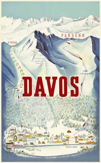 Davos Parsenn Strela Switzerland 1932 | Mad Men Art | Vintage Ad Art Collection