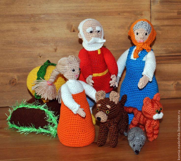 """Купить Вязаные игрушки """"Сказка Репка"""" - вязаная игрушка, игрушка для ребенка, разноцветный, вязаные животные"""