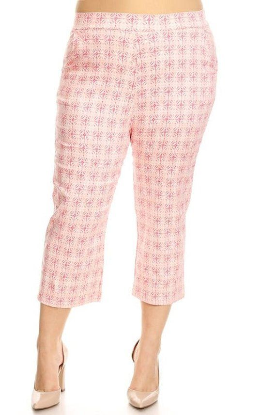 b22b83d00c1 Plus Size Capris Pants Printed High Waisted Pink - Free Shipping