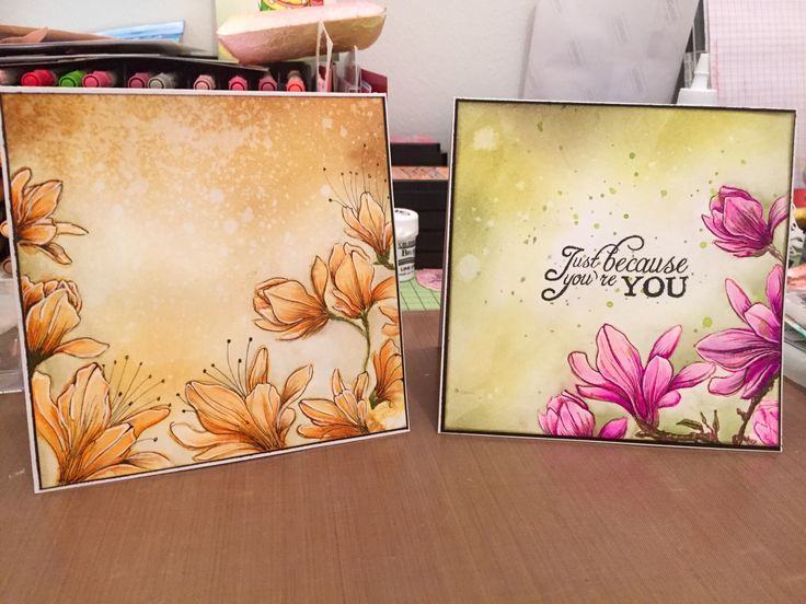 "Cards made with Studiolight stamp set"" magnolias"". Both are colored with Zig clean color brushes and Distress inks."