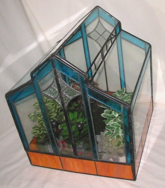 "Lead Light Stained Glass Terrarium ""Sunlight"" Plant House Hermit Crabs. At Cost"