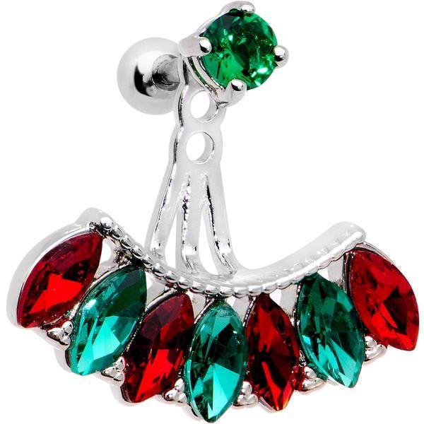 "1/4"" Red Green Gem Holiday Fan Dangle Cartilage Tragus Piercing"