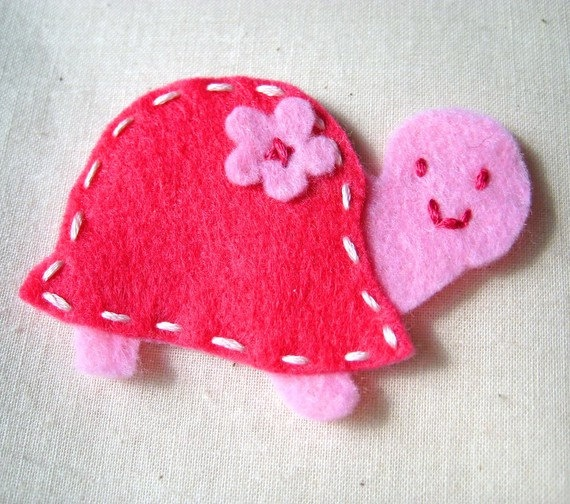 Tippy Turtle Felt Hair Clip or Ponytail Holder - Pin
