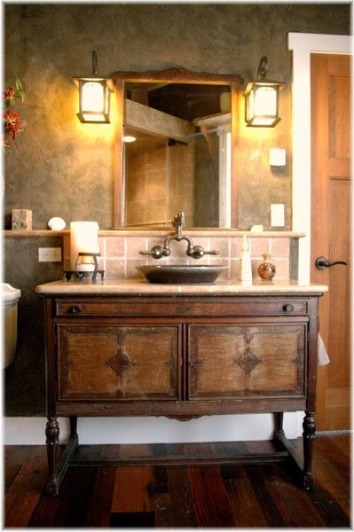 Rustic and modern dresser to bath vanity conversion.