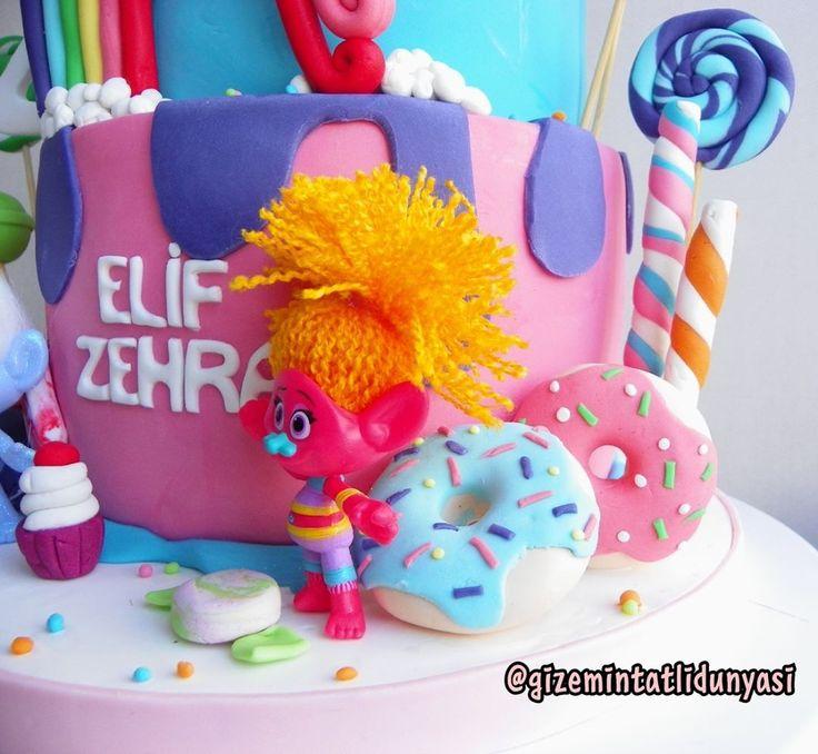 """121 Beğenme, 2 Yorum - Instagram'da Butik Pasta / Kurabiye (@gizemintatlidunyasi): """"Elif Zehra 4 Yaşında#trolls #trollscake #trollpasta #colorfulcake"""""""