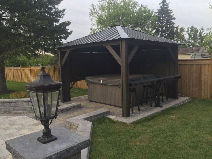 Hot tub gazebo backyard idea spa outdoor spa living for Spa gazebos