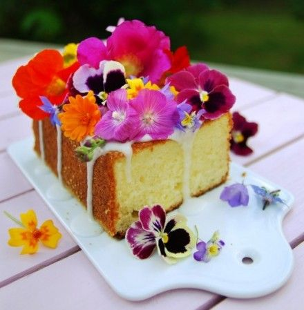 Lemon Cake with Edible Flowers Recipe. So pretty.