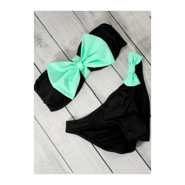 Black Strapless Bowknot Decorated Two Piece Swimwear ($19) ❤ liked on Polyvore featuring swimwear, bikinis, black, 2 piece swim wear, embellished bikini, print swimwear, 2 piece swimwear and strapless swimwear