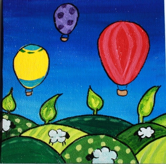 Green Fields and Hot Air Baloons Original Painting by emmahiggins, $40.00