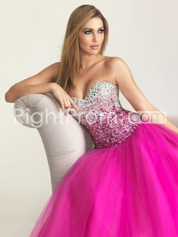2014 Style A-line Strapless Sweetheart Tulle Prom Dress