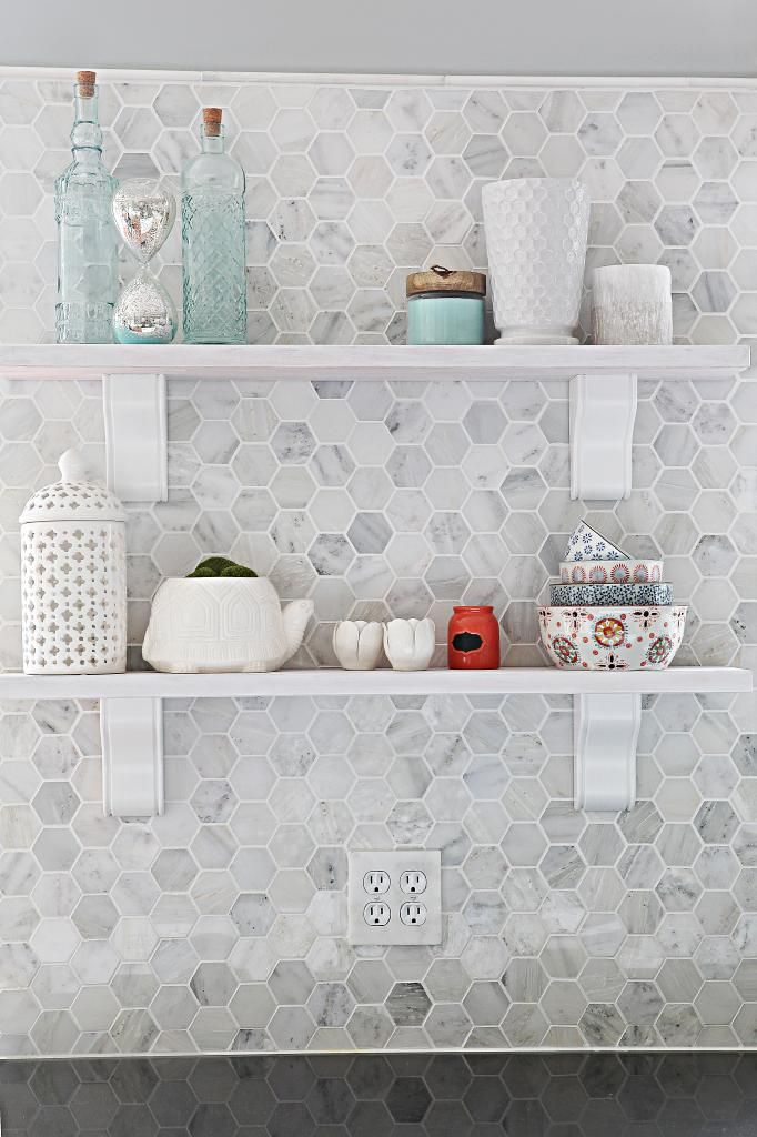 Installing Shelves on Tile - So pretty!