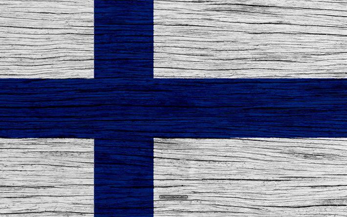 Hämta bilder Flagga Finland, 4k, Europa, trä-struktur, Finska flaggan, nationella symboler, Finlands flagga, konst, Finland