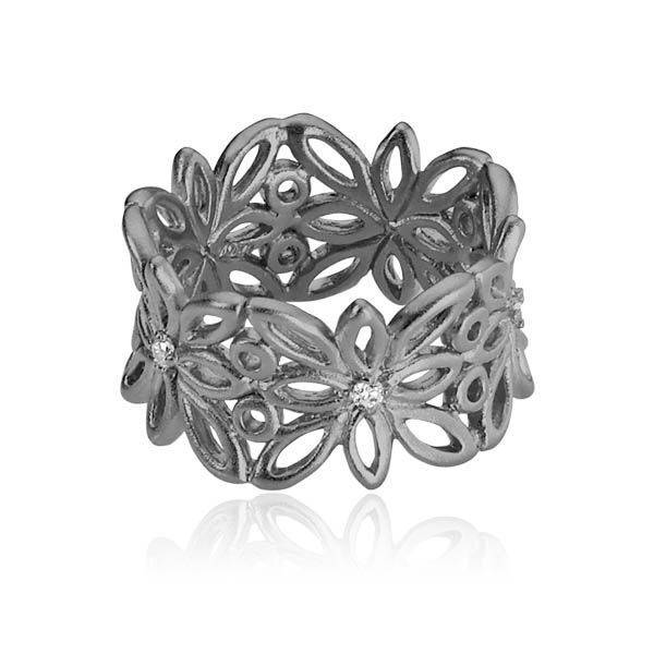 BLOSSOM ring with flowers and inserted with white zirconias in the center of each flower in matt black sterling silver - Danish design jewelry by Izabel Camille. Price: EUR 95 No. A4019ssr www.izabelcamille.com