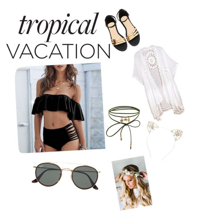 """Tropical vacation 💖"" by sousou-hendi ❤ liked on Polyvore featuring Ray-Ban, Do Everything In Love, Accessorize, Emily Rose Flower Crowns and Charlotte Russe"