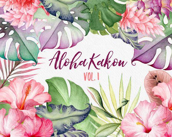 Aquarell Blumen Hawaii Clipart tropische von WatercolorNomads                                                                                                                                                                                 Mehr