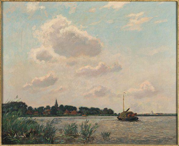 J. Elsinga - olieverfschilderij met voorstelling van een hooipraam voor Terherne.