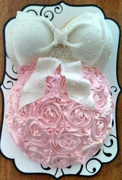 Sweet and elegant shower cake... Maybe even a cupcake-cake Love the cupcake Idea!! and this is adorable!! LOVE IT