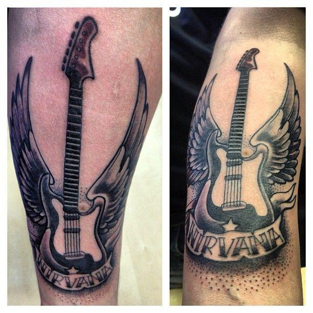 #tattoo #musictattoo #guitar #nirvana #tattooart #tattoos