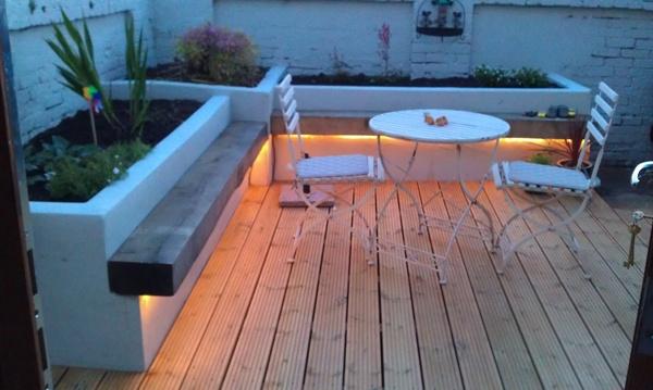 Garden lighting - floating benches
