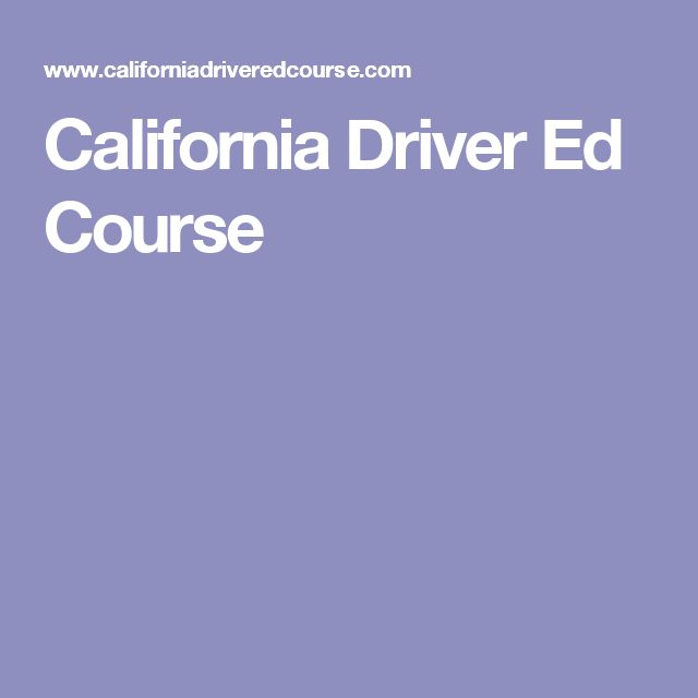 California Driver Ed Course